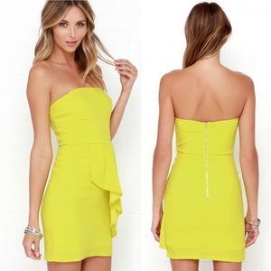 Lulu's | Too Hot to Trot Chartreuse Dress